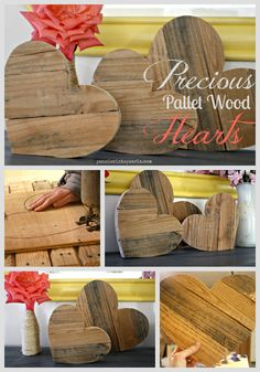 Precious Pallet Wood Hearts a DIY tutorial on how to transform pallet wood into a fancy and frugal chic home decor wood projects projects diy projects for beginners projects ideas projects plans Pallet Crafts, Diy Pallet Projects, Pallet Ideas, Wood Crafts, Woodworking Projects, Wood Ideas, Decor Crafts, Diy Crafts, Wood Pallets