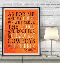 "Oklahoma State Cowboys Customized Art Print- ""As for Me"" Parody- Unframed Print"