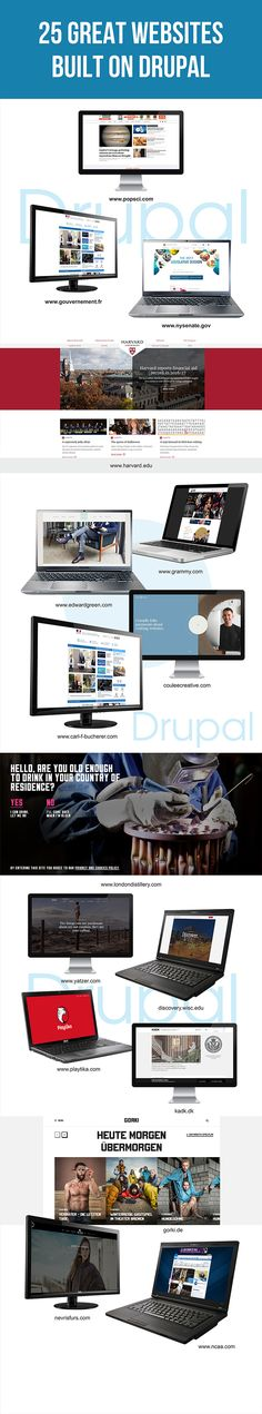 25 popular Drupal websites. In this article, we offer a list of best Drupal websites picked by our bloggers. See drupal website examples and learn why prestigious brands prefer Drupal among other CMSs.  #Drupal #websites #Drupalwebsites #drupalwebsiteexamples
