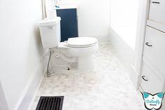Quick and Easy Bathroom Floor Update Rental Bathroom, Budget Bathroom, Simple Bathroom, Diy Heater, Air Vent Covers, Lumber Rack, Vinyl Sheet Flooring, Shoe Molding, Lace Painting