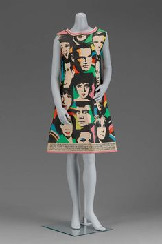 This is a paper dress. Paper dresses were a throwaway style. The dresses were cheap and were usually only worn once. The garments were originally a publicity stunt for a paper company. This particular paper dress was created in 1968.