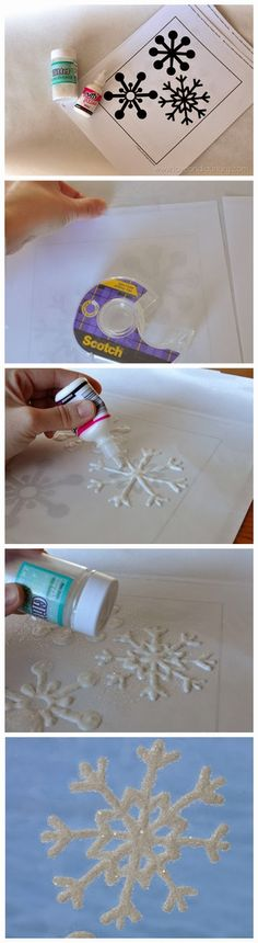 (link) DIY Glitter Snowflake Window Clings / Ornaments ~ TUTORIAL ~ What You Need: snowflake template; wax paper (or freezer paper) Noel Christmas, Christmas Projects, All Things Christmas, Winter Christmas, Holiday Crafts, Holiday Fun, Christmas Ornaments, Christmas Snowflakes, Outdoor Christmas