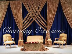 Eman and Anter's wedding Wedding Hall Decorations, Wedding Reception Backdrop, Backdrop Decorations, Indian Reception, Gold Backdrop, Backdrop Design, Blue Gold Wedding, Pipe And Drape, Backdrops For Parties