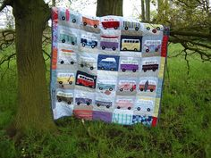 Campers and Vans Quilt by Love Alfie (so cute for a boy's room car theme)