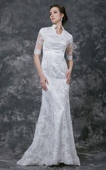 Elegant Illusion Half Sleeve V-neck Lace Bridal Gown With Satin Belt