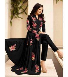 Indian Women's wear online store for bridal wear, designer salwar kameez, wedding lehengas, indowestern outfits Designer Salwar Kameez, Designer Anarkali, Black Salwar Kameez, Pakistani Formal Dresses, Indian Dresses, Indian Outfits, Trajes Anarkali, Anarkali Dress, Long Anarkali