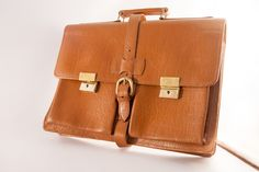 Vintage BRIEFCASE, brown attache case, large laptop bag 15 inch, 14 inch laptop bag, lawyer gift, nerd briefcase, retro briefcase, notebook by VintageEuropeDesign on Etsy
