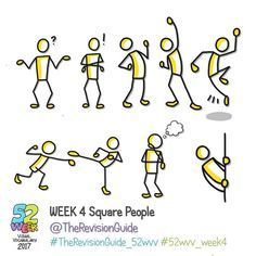 Week 4 of the 52 week visual vocabulary challenge for 2017 is here! 🎉🎉🎉🎉 It's all about square people. Add bubbles (speech/thought),… Stick Figure Drawing, Figure Drawings, Visual Note Taking, Doodle People, Visual Thinking, Note Doodles, Doodle Lettering, Sketch Notes, Stick Figures