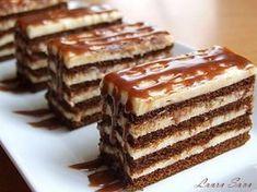 "Vestitele cuburi de lapte, pe care eu le-am transformat (pentru a cata oara fac asta?! :P) in vesnicele mele ""feliute"" dreptunghiulare. Cred ca am o problema cu formele geometrice , asa canu ma bagati in seama, ca nu asta e interesant, ci faptul ca aceasta prajitura e innebunitor de gustoasa si pacatoasaaa!!!!!!! Cu greu … Sweets Recipes, Cake Recipes, Cooking Recipes, Romanian Desserts, Delicious Desserts, Yummy Food, Cata, Chocolate Recipes, Cupcake Cakes"