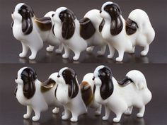 Japanese Chin Dog Art Blown Glass Figurines, Wholesale Set of 6 pieces