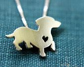 Dachshund necklace, sterling silver hand cut pendant, with heart, tiny dog breed jewelry