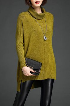 LUSHIJIAO -  High Low Cowl Neck Sweater