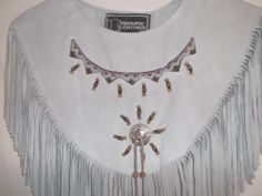 Handmade Gray Suede Leather Fringed Beaded Collar Shawl Regalia Powwow Western