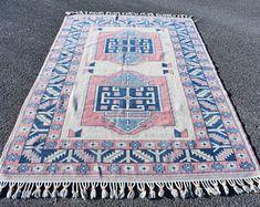 Turkish rug Oushak rug Vintage rug Turkey rug by turkishrugstar Small Area Rugs, Rustic Rugs, Aztec Rug, Black Rug, Floral Rug, Turkish Kilim Rugs, Wool Area Rugs, Handmade Rugs, Boho Decor