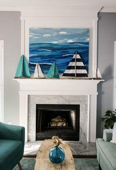 DIY Driftwood Sailboat Mantel & a linkup! : Driftwood Sailboat Coastal Mantel via Charleston Crafted Beach Cottage Style, Coastal Cottage, Coastal Homes, Coastal Style, Nautical Style, Beach Homes, Coastal Farmhouse, Seaside Decor, Beach House Decor