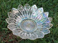 Vintage Indiana Federal Iridescent Clear Carnival Glass Bowl Petal 10""