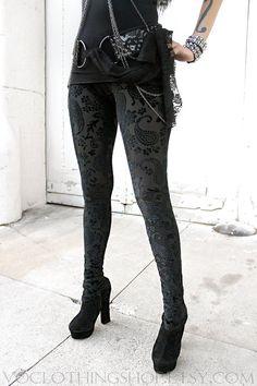 BLACK MAGIC II velvet burnout leggings by voclothingshop on Etsy, $60.00