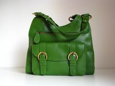 Leather Handbag Shoulder Bag in Green by TheLeatherStore on Etsy, $140.00