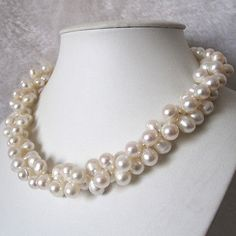 18 Inches 8-9mm 2 Row White Baroque Freshwater Pearl Necklace C
