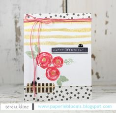 SSS Card Kit April 2016;; birthday; stripes; dots; flower die; Dymo; twine; foil; fave; stunning