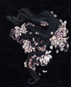 by Christina Mrozik #illustration #snake #flowers