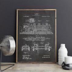 Steam Locomotive 1915 Patent Poster Steam Train by GattoStamps