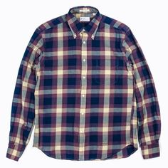 Gant Rugger Madras E-Z OBD Shirt in Indigo/Purple | atoo.co.uk