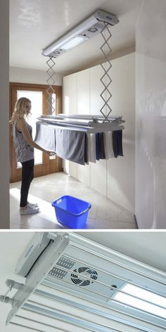 66 Functional And Stylish Laundry Room Design Ideas To Inspire « Alpha Sans Drying Rack Laundry, Laundry Room Organization, Laundry Room Design, Laundry Cart, Laundry Dryer, Laundry Room Bathroom, Design Kitchen, Organization Ideas, Storage Ideas