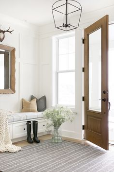 Bria Hammel Interiors Architecture Design, Home Office Space, Shop Interiors, Cabinet Colors, Dining Table Chairs, Design Firms, Wood Doors, Entryway Decor, Entryway Ideas