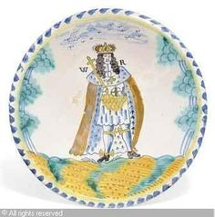DELFT - BLUE-DASH ROYAL PORTRAIT CHARGER OF WILLIAM III Defender Of The Faith, William And Mary, Queen Of England, Delft, Royalty, Pottery, Plates, London, Defenders