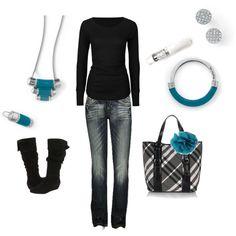 """Ocean Blue"" by amy-bortz on lia sophia   Queue Necklace & Ring  Powdered Sugar Earrings  Chromatic & Technicolor Bracelets"