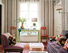 lisa fine living room, small space, striped wallpaper