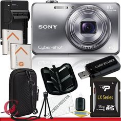 Sony Cyber-shot DSC-WX150 Digital Camera (Silver) 16GB Package 5 by Sony. $179.00. Package Contents:  1- Sony Cyber-shot DSC-WX150 Digital Camera (Silver)  w/ All Supplied Accessories 1- 16GB SDHC Class 10 Memory Card   1- USB Memory Card Reader  2- Rechargeable Lithium Ion Replacement Battery  1- Weather Resistant Carrying Case w/Strap  1- Pack of LCD Screen Protectors  1- Camera & Lens Cleaning Kit System  1- Mini Flexible Table Top Tripod 1- Memory Card Wallet 1- R...