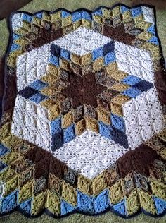68x56 Brown And Blue Prairie Star Crochet by PlumCreekLogCabin