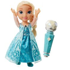 DISNEY FROZEN SING ALONG ELSA DOLL: Create the perfect duet with Elsa. The magical microphone can recognize who's singing, that way you and Elsa can sing together. While you sing, watch Elsa's necklace and dress light up to create a magical winter wonderland.