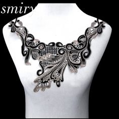 New 1pc Elegant Embroidery Black Peacock Tail Floral Lace Collar Fabric, DIY Collar Lace fabrics for Sewing Supplies DIY Crafts-in Lace from Home & Garden on Aliexpress.com | Alibaba Group