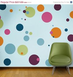 Create a polka dot room in minutes for your baby nursery or kids room. My Wonderful Walls' polka dot stencils adhere to your walls without any additional adhesives. Polka Dot Room, Polka Dot Walls, Polka Dots, Decoration Creche, Stencils For Kids, Kids Room Paint, Kids Rooms, Room Decor, Wall Decor