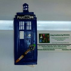 Dr Who Tardis Mezuzah made by Michelle Mathis Burckhalter from polymer clay  www.claycreationsbymichelle.com