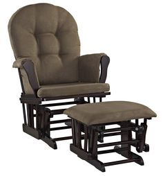 Angel Line Windsor Glider and Ottoman Set, Espresso with Chocolate Cushion. Generous seating room with padded arms and storage pockets. Enclosed metal bearings for smooth gliding motion. Removable chair cushions for easy spot cleaning. Glider And Ottoman, Glider Chair, Grey Cushions, Chair Cushions, Outdoor Cushions, Nursery Furniture, Furniture Sets, Nursery Chairs, Convertible Crib