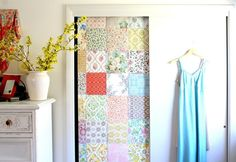 Vintage wallpaper attached with doublesided tape onto closet door, by Tamar Schechner/Nest Pretty Things Inc Decor, Wallpaper Bedroom, Closet Bedroom, Diy Closet Doors, Creative Bedroom, Decorating Your Home, Rustic Closet, Closet Design, Wardrobe Doors