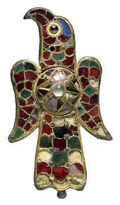 Eagle Fibula -- 6th Century -- Gold over bronze, gemstones, glass & meerschaum -- Walters Art Museum