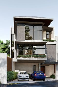 An approach to modern Mediterranean architecture, the site is located in Baguio which is known for its cold climate and steep hills, this gives the opportunity to use large windows to maximizes the view of the city Modern Residential Architecture, Mediterranean Architecture, Baguio, Cebu, Large Windows, Design Firms, Philippines, Opportunity, Mansions