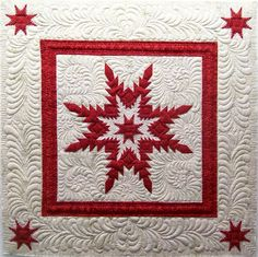 """Feathered Star Illusion, 31 x 31"""", by Linda Everhart at Quilting Among Friends. This star block combines applique and reverse applique"""