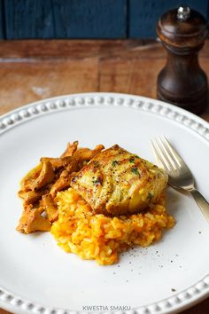 Dorsz na risotto dyniowym Risotto, Good Food, Yummy Food, Snack Recipes, Snacks, Tandoori Chicken, I Foods, Smoothies, Chili