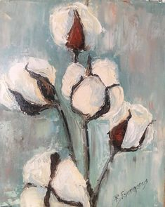 30 paintings in 30 days: Day 1 cotton stem painted with palette knife and oil paints