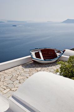Terrace view from Oia, Santorini, Greece