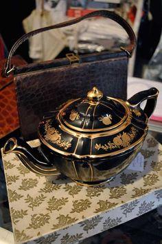 RARE Vintage Art Deco Black and Gold Gilt Sadler Teapot in Pottery, Porcelain & Glass, Pottery, Sadler Vintage China, Vintage Tea, Traditional Teapots, Teapots And Cups, Teacups, China Tea Sets, Tea Cozy, Tea Service, Tea Party