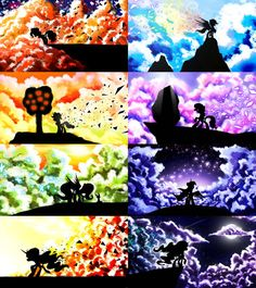 MLP Cloud Silhouettes [Full Set] by on DeviantArt My Little Pony List, My Little Pony Comic, My Little Pony Pictures, My Little Pony Friendship, Happy Friendship, My Little Pony Wallpaper, Imagenes My Little Pony, My Little Pony Drawing, Little Poni