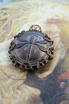 Vintage Dragonly Hematite Glass Button UPCYCLED Filigree Pendant