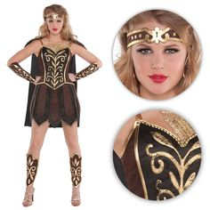 Ladies Princess Warrior Costume. Ladies Spartacus style princess warrior costume with dress, headpiece, cape, arm guards and leg guards. Be a gladiator. If you love watching Game of Thrones, 300 and the rest then you will want to dress as your favourite fierce character!   eBay!